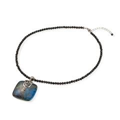 天然矿石吊坠搭配黑玉髓项链 货号111387