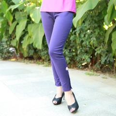 N.L素色针织罗马布瘦腿裤  货号112162