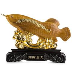 金丝楠木招财金龙鱼摆件 货号120033