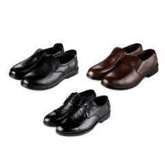 澳威盾头层牛皮男鞋1+1+1套组  货号120153