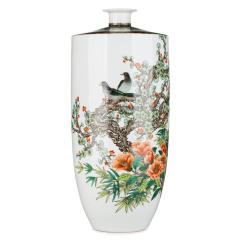 《报喜图》古彩总统瓷瓶 货号120398