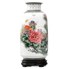 张松茂《国色天香》手绘粉彩瓶 货号121018