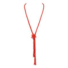 俏丽花开富贵红珊瑚长款项链组