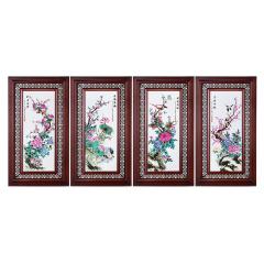 张松茂富贵花开四条屏瓷板画