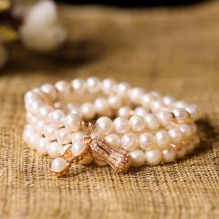 芭法娜 收货 天然淡水珍珠多圈手链
