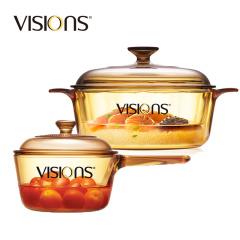 康宁晶彩透明锅+单柄锅VS22+VSP1