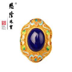 懋隆S925银饰镀金手工花丝镶嵌烧蓝蝙蝠寿桃福寿青金石戒指女款