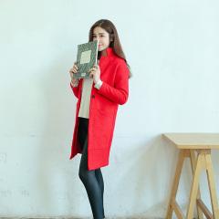 采沂 修身红色中长款毛呢外套