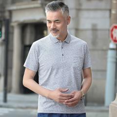 短袖T恤男夏40-50岁中年人男士夏装翻领上衣中老年人夏天衣服