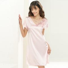 维多拉斯夏季新款女士仿真丝无袖睡裙休闲蕾丝花边家居服8121