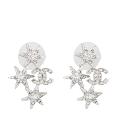 【17年新款】CHANEL/香奈儿 女士银色星星款双C耳钉 A88464