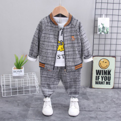 菲儿小屋秋季新款外套男童卡通恐龙三件套韩版童装