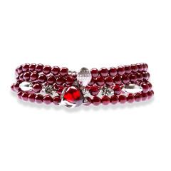 芭法娜 灵狐 天然石榴石多圈高净体时尚手链 4.5mm珠径 高色高透 配红刚玉银饰狐狸