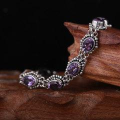 灵动梦幻紫水晶银手链