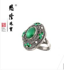 懋隆S925银饰手工花丝镶嵌东陵石戒指烧 圈口活口