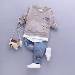 菲儿小屋 中小童春季套装 棉质秋款圆领T恤宝宝套装两件套