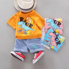 菲儿小屋  夏季男童0-4岁宝宝衣服卡通恐龙印花短袖T恤休闲套装