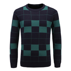 男士休闲毛衫圆领撞色方块格纹长袖针织衫33637116