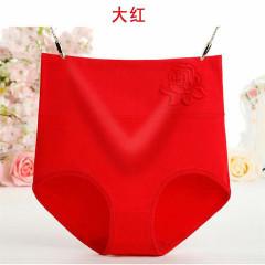 [四条装]纯棉高腰收腹裤提臀产后3D压花大码三角裤头
