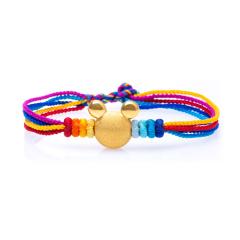 芭法娜 米奇 3D硬金黄金足金立体手工编织转运珠 可调节长短
