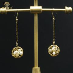 慕古 【一带一路外销款】设计款垂感珍珠耳环 MUXP2031503