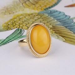 琳福珠宝  S925银镶嵌蜜蜡 红珀戒指 纯天然琥珀戒指(活口戒指)
