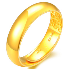 中国黄金T977 简约光面黄金戒指男款足金吉祥福活口对戒情人节圣诞节礼物送老公光圈指环结婚纪念日礼品