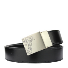 范思哲男士黑色可裁剪经典美杜莎LOGO款板扣腰带 V91006S VM00046 V000
