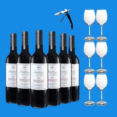 法国进口巴图波尔多干红葡萄酒AOC级 六支加赠酒杯套组