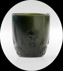 痕都斯坦工艺、古法再现、薄胎、玉雕大师《青玉薄胎杯》