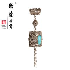 懋隆珠宝 银925松石吊坠 手工花丝镶嵌随型流苏款