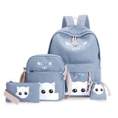 卡通可爱帆布印花表情猫四件套双肩包韩版校园小学生4-6年级书包