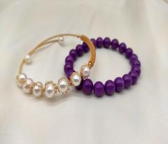 丁香紫云母珍珠手镯