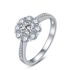 芭法娜  烁烁 0.6ct/1粒 G色 SI1 铂金Pt950钻石戒指 订婚结婚戒指