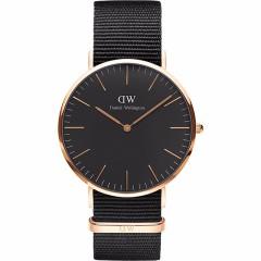 【香港直邮】DW男表40mm黑表盘金色边尼龙带超薄男士石英手表DW00100148