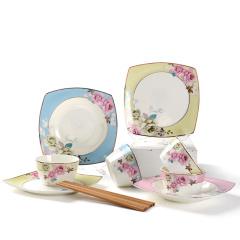 Ijarl亿嘉陶瓷时尚创意骨瓷餐具碗盘筷子个性贵族风套装月贵纷菲12件套A款套装
