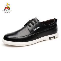 稻草人男鞋 真皮休闲正装鞋英伦时尚舒适软面皮耐磨休闲鞋男士鞋子
