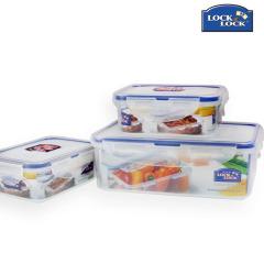 乐扣密封耐热持久安全保鲜盒三件套两种包装(长方形350ml*2+长方形1L*1)