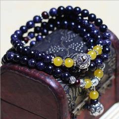 熙益 天然水晶手链蓝砂石108颗佛珠手串饰品