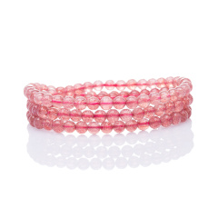 芭法娜 茜茜公主 天然草莓晶多圈时尚百搭手链 5mm 冰透款 樱桃红 桃花色
