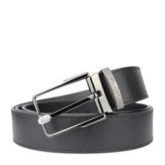范思哲男士黑色格纹可裁剪针扣腰带V91009S VM00043 V000
