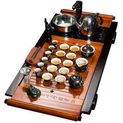 金镶玉 唐诗书卷 实木茶盘陶瓷茶具整套