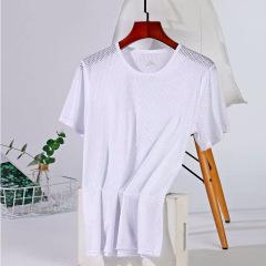 冰丝短袖T恤男士夏季薄款网眼透气宽松大码套装半袖速干体恤潮流M7