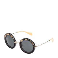 MiuMiu/缪缪 女士黑色动物印花虎皮装饰前框金属镜架太阳镜 08RS USC1A1 49