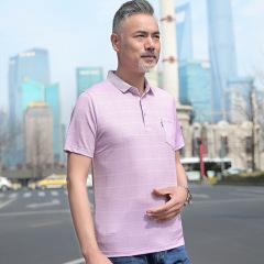夏季中老年男装爸爸装短袖t恤中年人男士40-50岁宽松商务休闲上衣