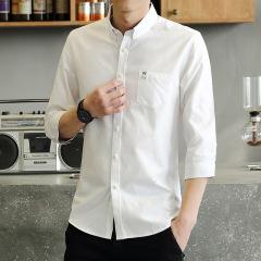 男士牛津纺纯色七分袖衬衫青年休闲百搭修身薄款男装