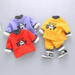 菲儿小屋2020冬季新款男女宝宝条纹半高领卡通熊猫加绒加厚两件套