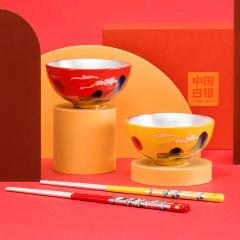 中国白银万福金安鎏银碗筷套组