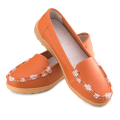 箴美印花牛皮鞋橘色