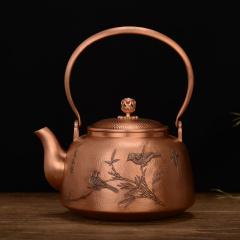 中艺盛嘉孟德仁淇园风暖紫铜壶礼品养生煮茶壶烧水壶纯手工铜壶